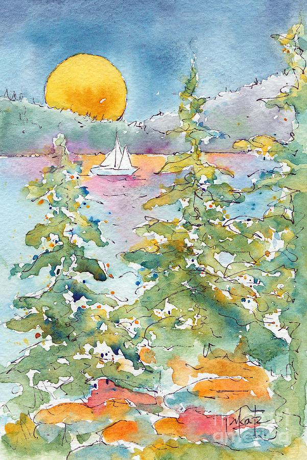 Impressionism Painting - Sunset Sail On Waskesiu Lake by Pat Katz