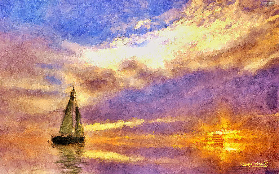 Sea Painting - Sunset Sail by Wayne Pascall