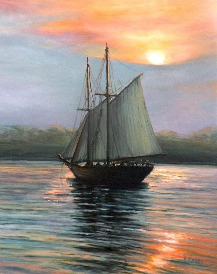 Schooner Painting - Sunset Sails by Eileen Patten Oliver
