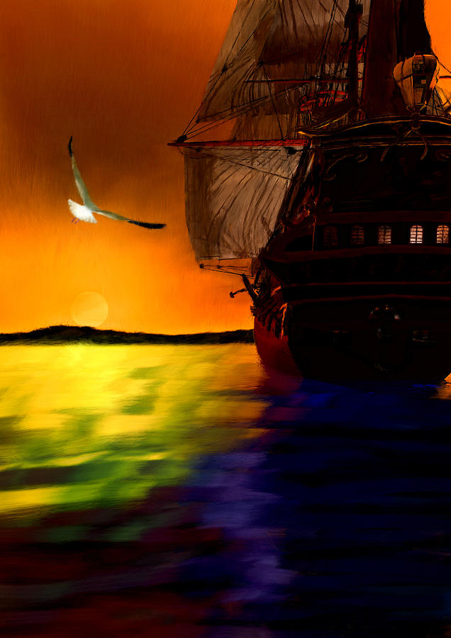 Ship Painting - Sunset Sails by Lourry Legarde
