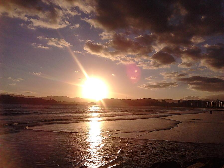 Landscape Photograph - Sunset Santos Brazil by Vera Radoja de Vasconcelos
