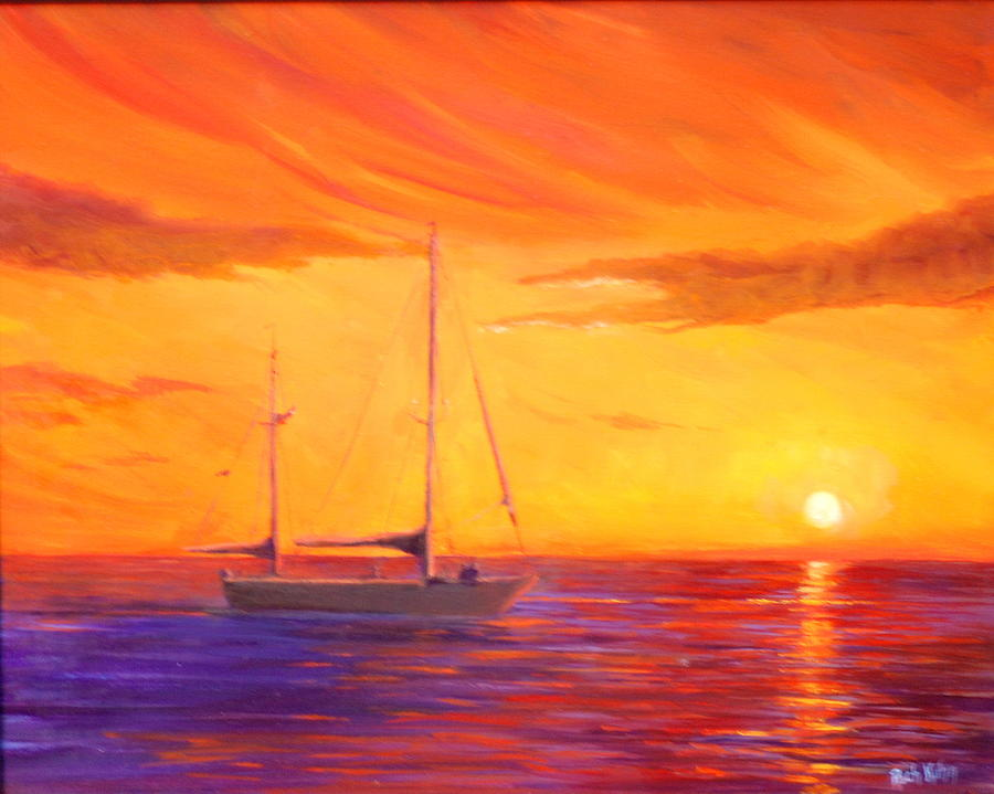 Seascape Sunset Reflection Painting - Sunset Ship by Rich Kuhn