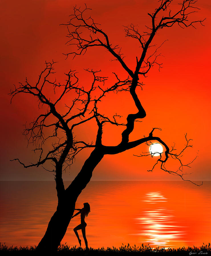 Red Digital Art - Sunset Silhouettes by Igor Zenin