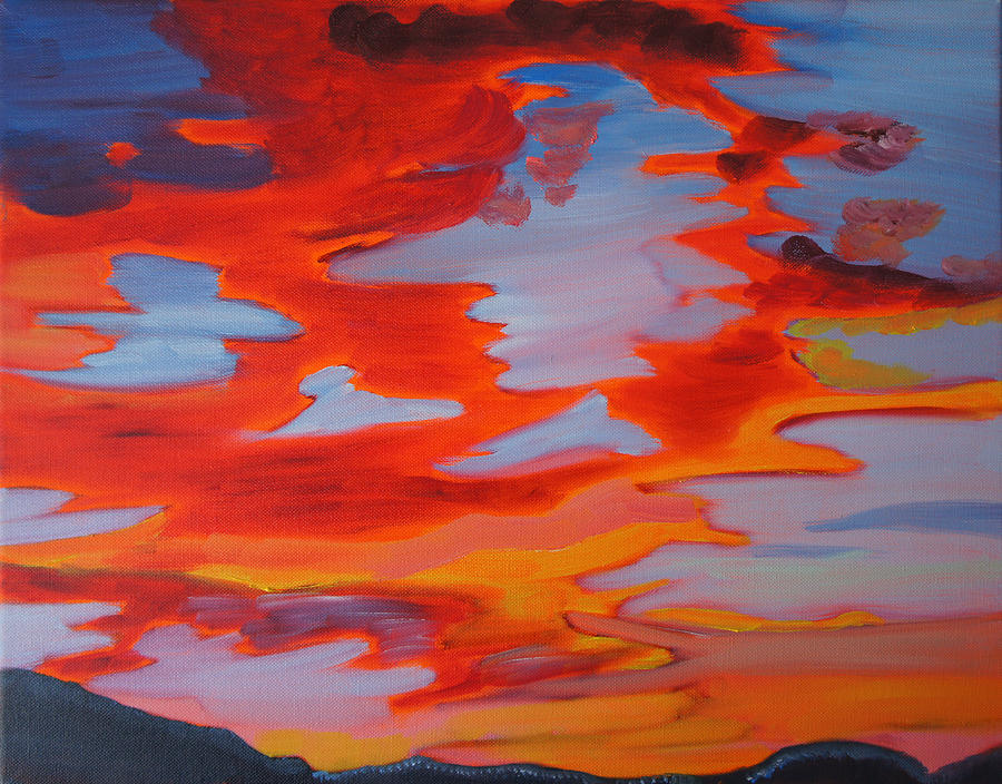 Sunset Painting - Ruby Red Sunset by Meryl Goudey