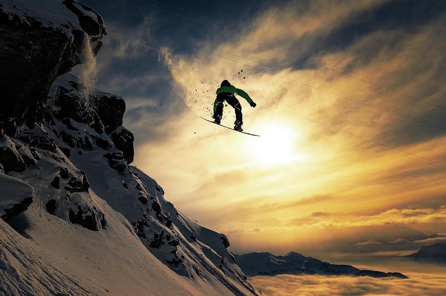 Snowboard Photograph - Sunset Snowboarding by Jakob Sanne
