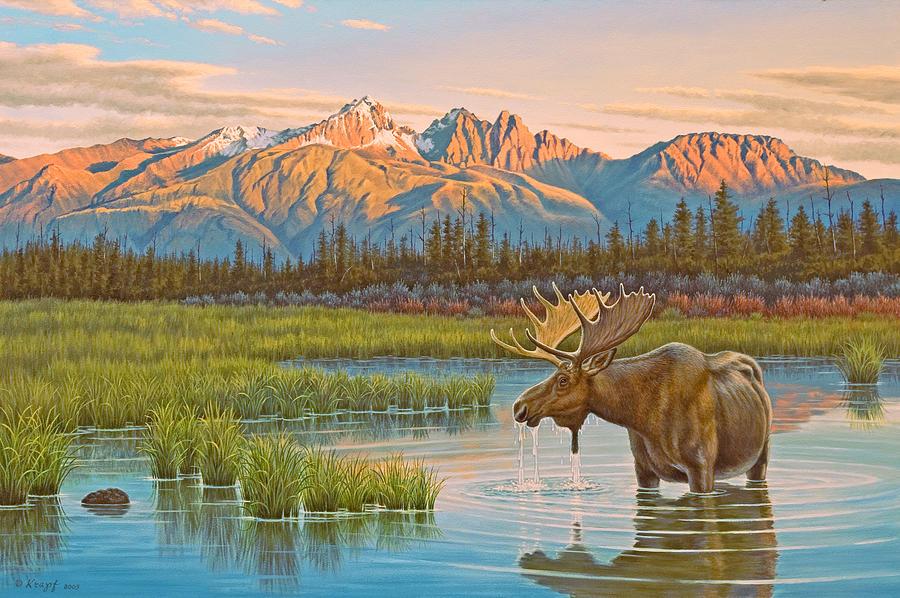 Wildlife Painting - Sunset Solitude     by Paul Krapf