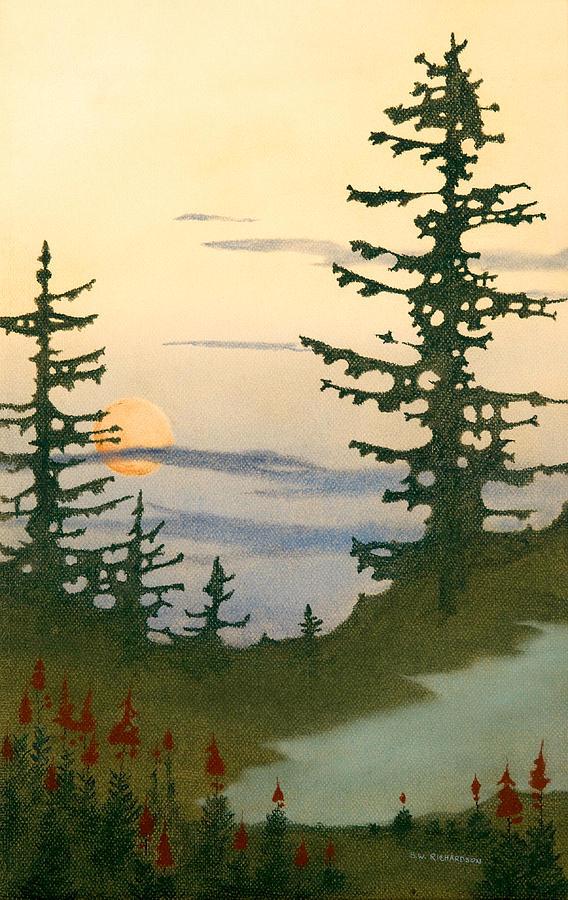 Landscape Pastel - Sunset Spruces by Bruce Richardson
