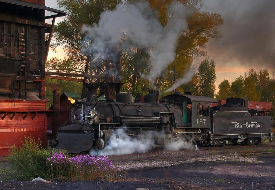 Narrow Gauge Photograph - Sunset Steam by Ken Smith