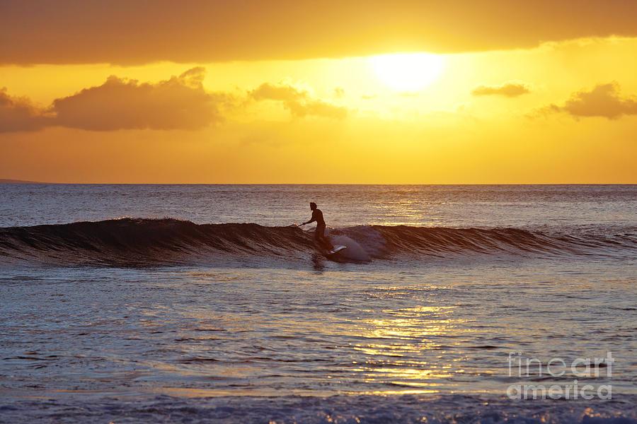 Paddle Photograph - Sunset Surf Maui by David Olsen