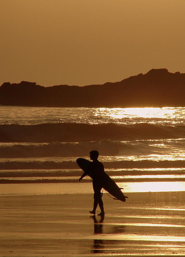 Surfer Photograph - Sunset Surfer by Ramona Johnston
