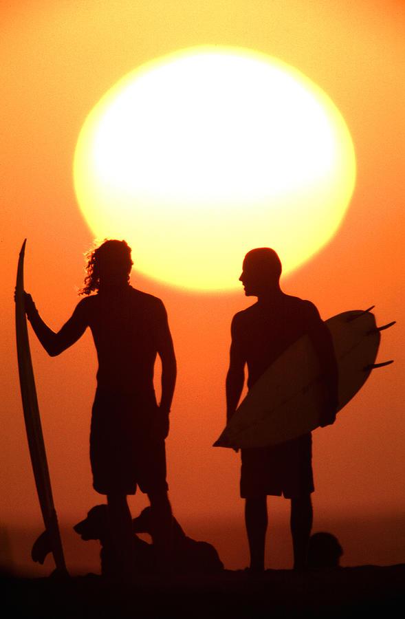 Beach Photograph Photograph - Sunset Surfers by Sean Davey