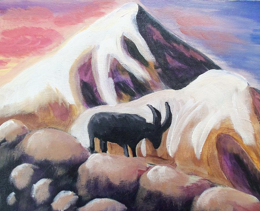 Snow Mountains Painting - Sunset Swiss Goat by Christine McNulty