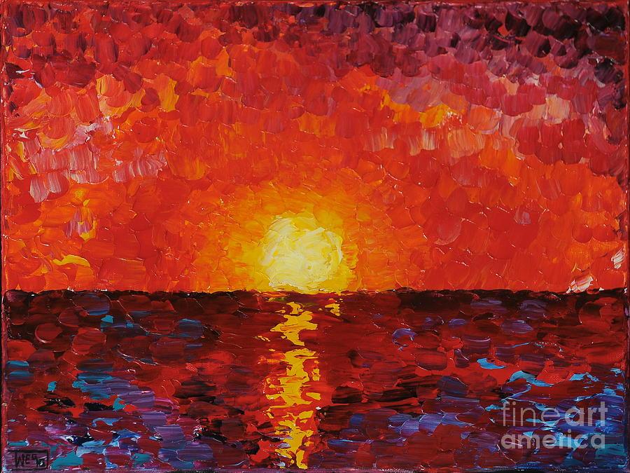 Sunset Painting - Sunset by Teresa Wegrzyn