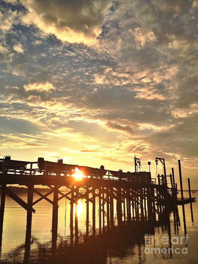 Beach Photograph - Sunset Through Pier by Stephanie  Varner