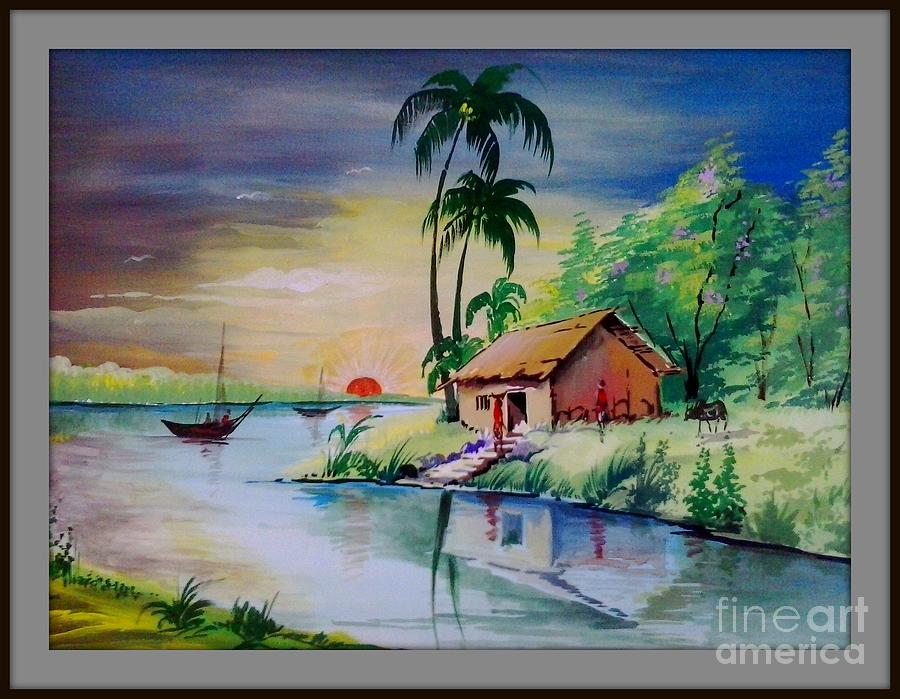 sunset time poster colour painting painting by sanjay wagh. Black Bedroom Furniture Sets. Home Design Ideas