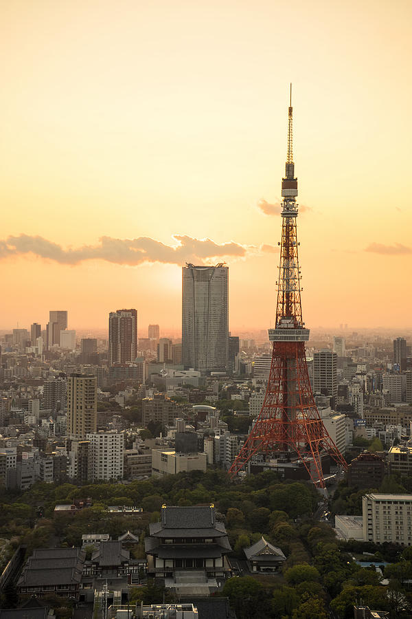 Tokyo Photograph - Sunset Tokyo Tower by For Ninety One Days