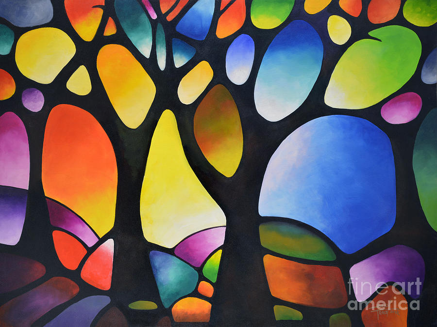 Sunset Trees Painting By Sally Trace