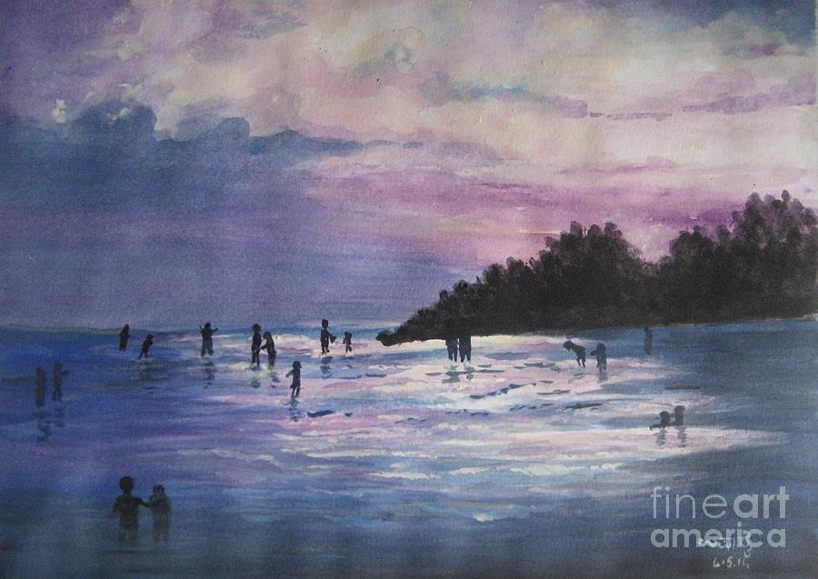 Sunset Painting - Sunset by Usha Rai