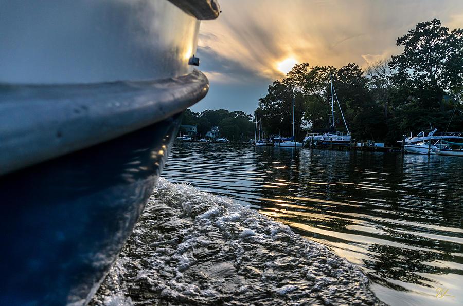 Annapolis Photograph - Sunset Wake by Pat Scanlon