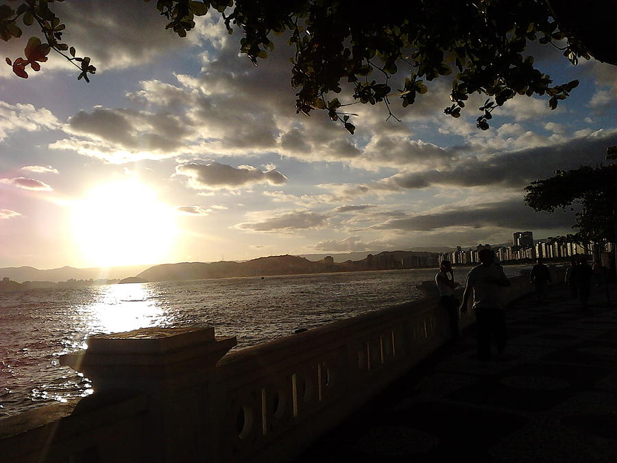 Landscape Photograph - Sunset Walk Ponta Da Praia Santos Brazil by Vera Radoja de Vasconcelos