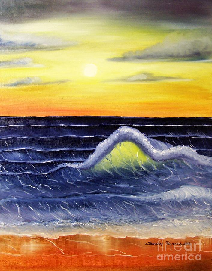 Sunset Painting - Sunset Wave by Barbara Pelizzoli