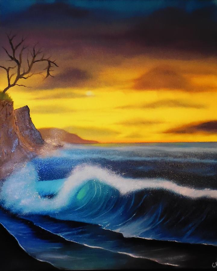 Bob Ross Reproduction Painting - Sunset Wave by Charles Eagle
