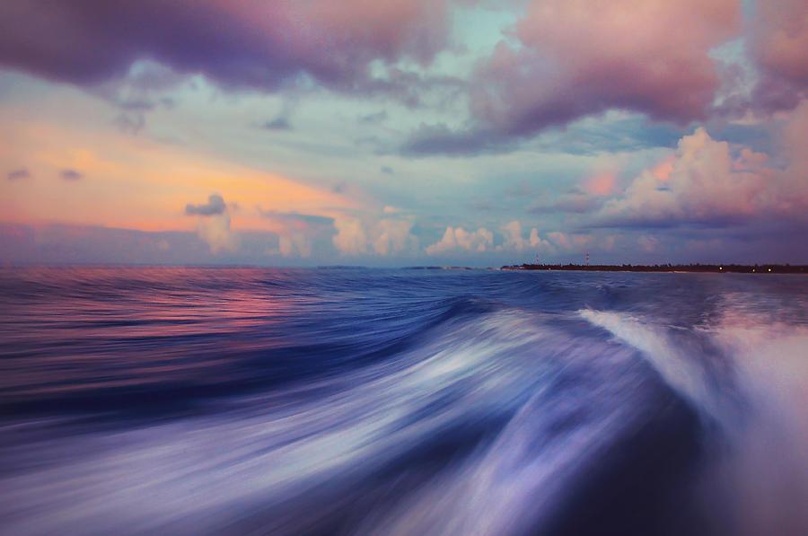 Maldives Photograph - Sunset Wave. Maldives by Jenny Rainbow