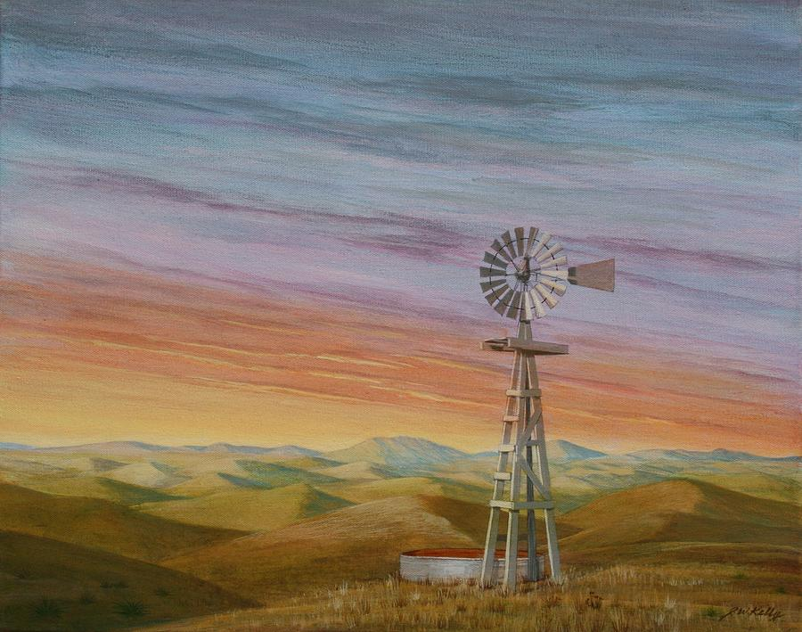 High Plains Painting -  Windmill Sunset by J W Kelly