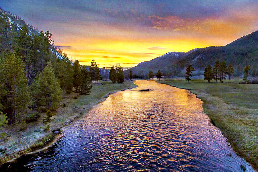 Sunset Yellowstone National Park Madison River Photograph ... First Photographs Of Yellowstone