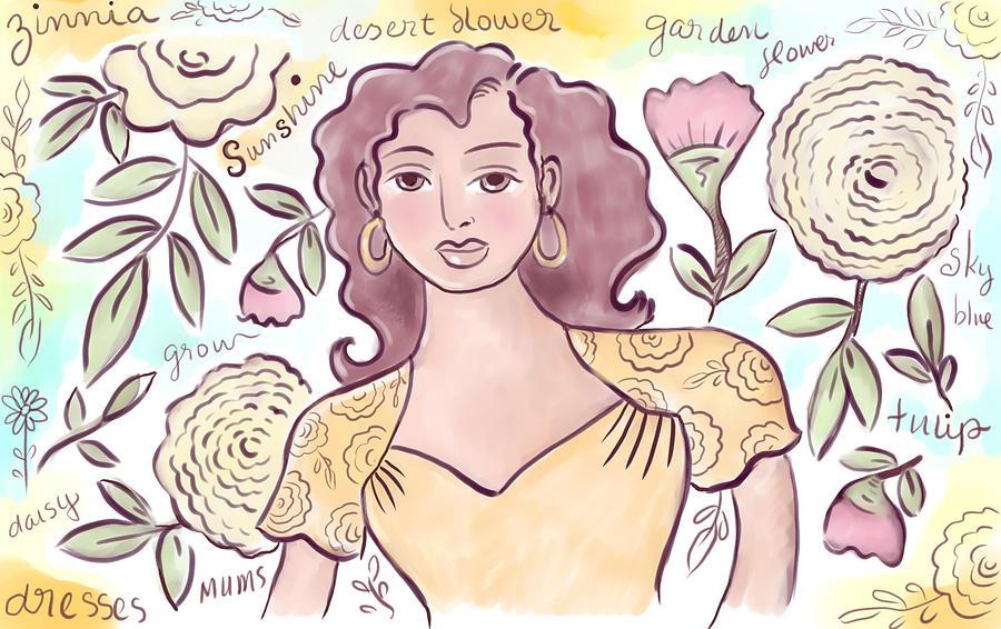 Woman Digital Art - Sunshine Flowers by Elaine Jackson