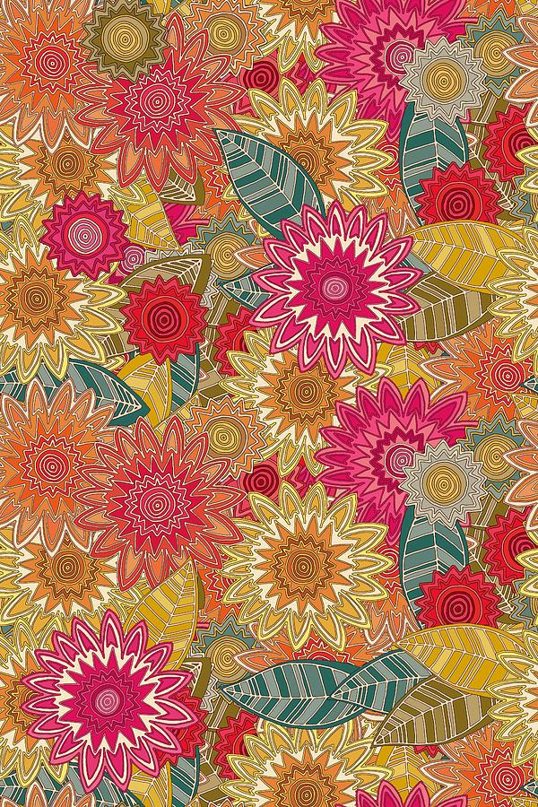 Floral Drawing - Sunshine Garden by MGL Meiklejohn Graphics Licensing