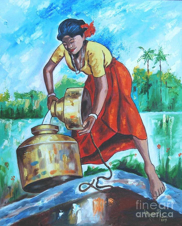 India Painting - Sunshine Girl by Ragunath Venkatraman