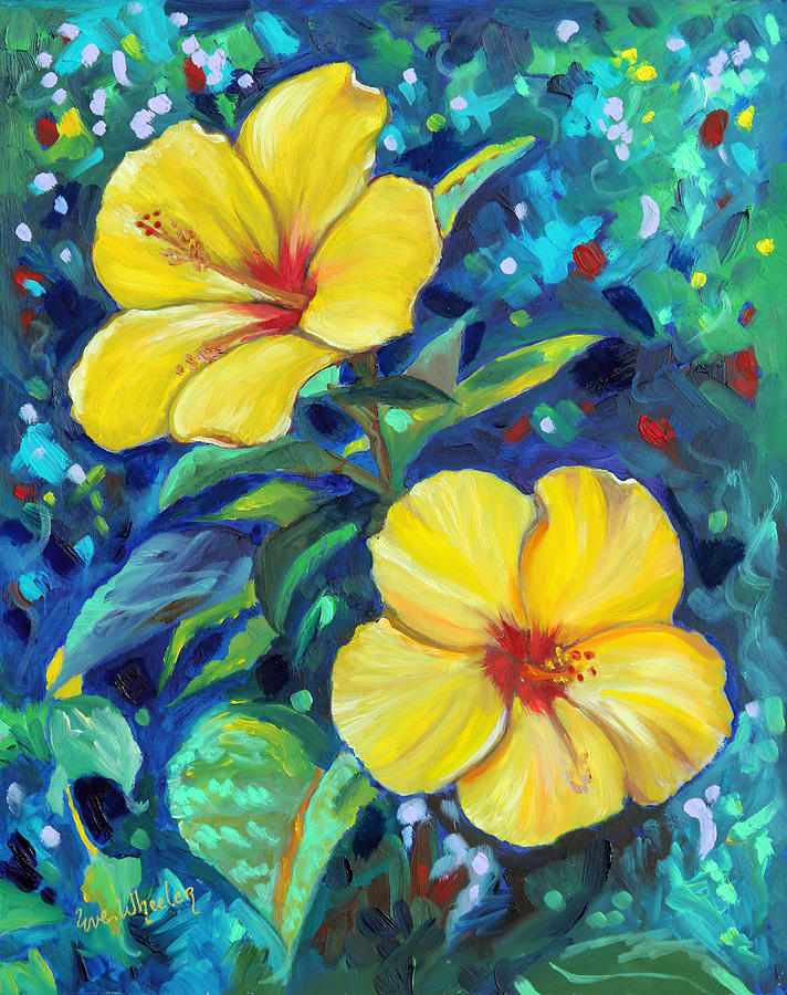 Yellow Painting - Sunshine Sisters by Eve  Wheeler