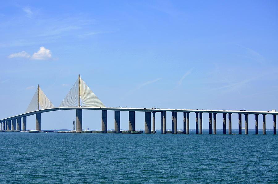Mile Photograph - Sunshine Skyway Bridge II Tampa Bay Florida Usa by Sally Rockefeller