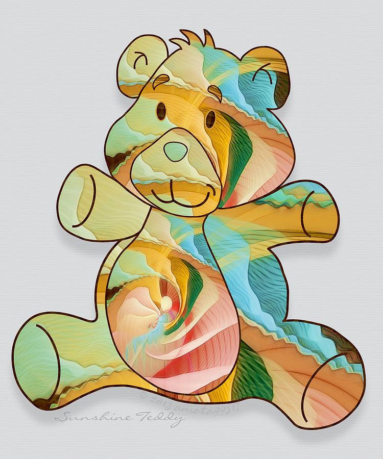 Teddy Digital Art - Sunshine Teddy by Gayle Odsather