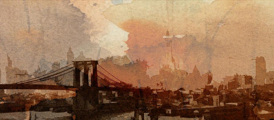 Sunsrise Over Brooklyn Bridge Digital Art by Steve K