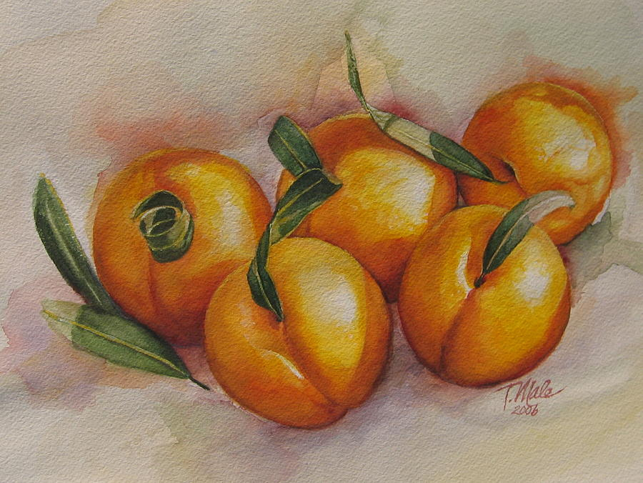 Still Life Artwork Painting - Sunstruck Peaches by Tracy Male