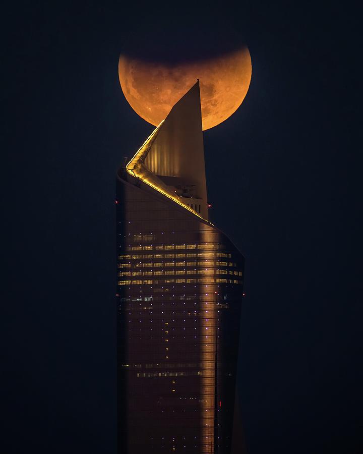 Night Photograph - Super Blue Blood Moon by Faisal Alnomas