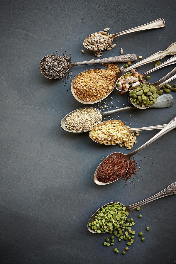 Super Food Grains On Spoons Photograph by Lew Robertson