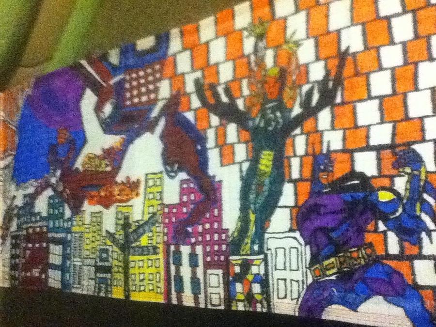 Sneaker Drawing - Super Heroes by Mj  Museum