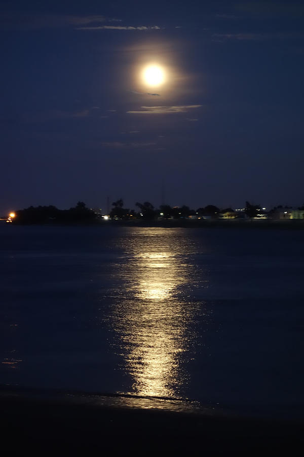 Super Moon Over the Mississippi River in New Orleans by Louis Maistros