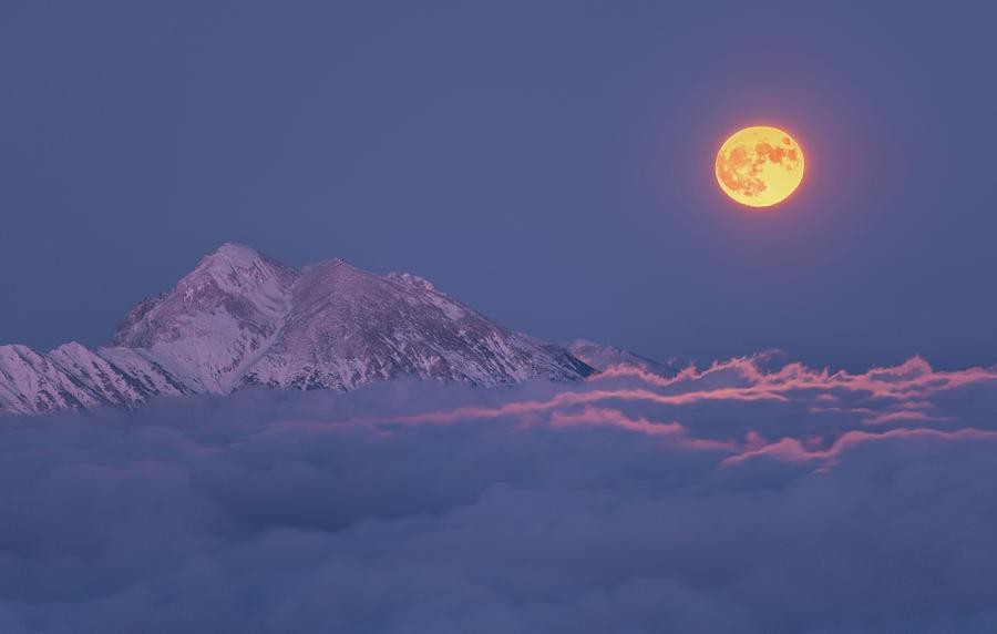 Night Photograph - Super Moon Rises by Ales Krivec