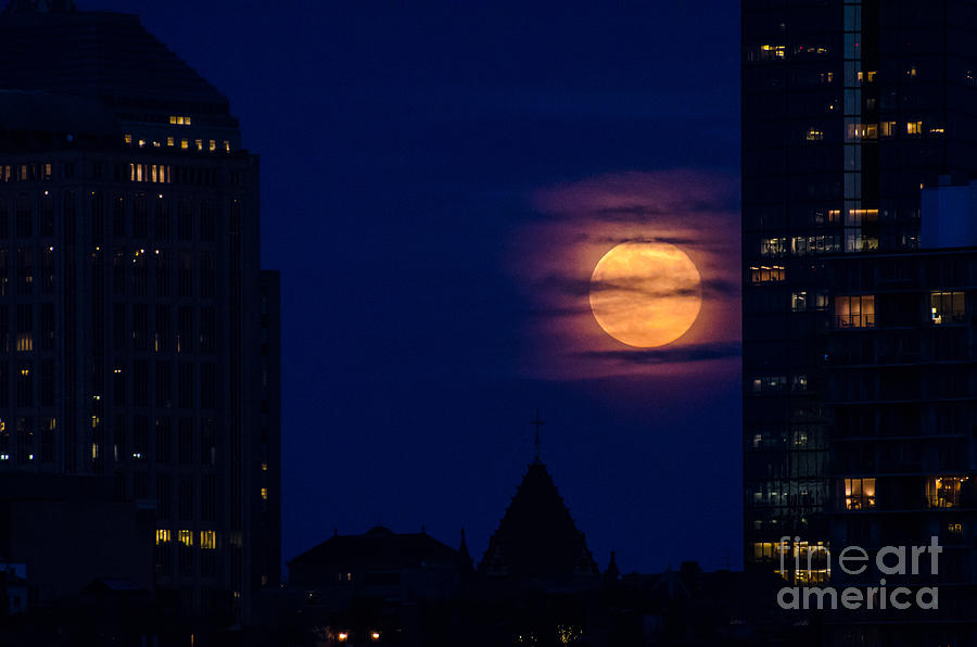 Boston Photograph - Super Moon Rises by Mike Ste Marie