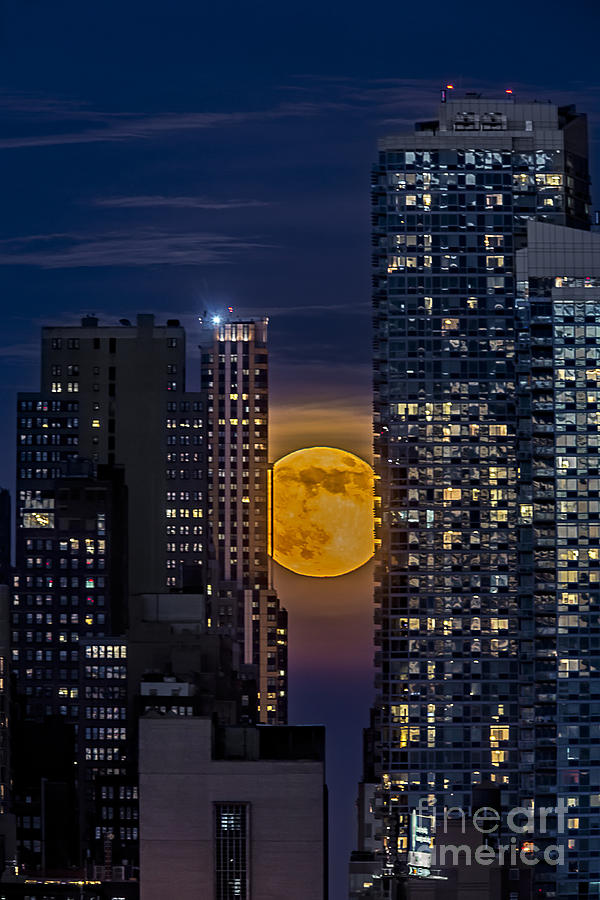 Big Apple Photograph - Super Moon Rises Over The Big Apple by Susan Candelario