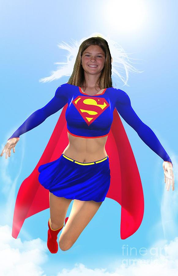 Superwoman Drawing - Super Nina by Allan  Hughes