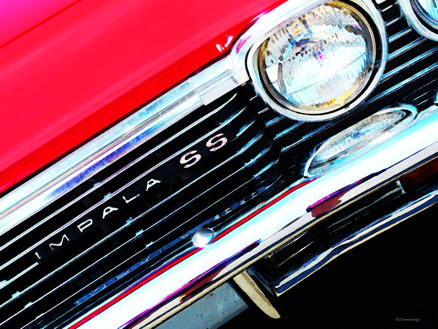 Chevy Painting - Super Sport 2 - Chevy Impala Classic Car by Sharon Cummings