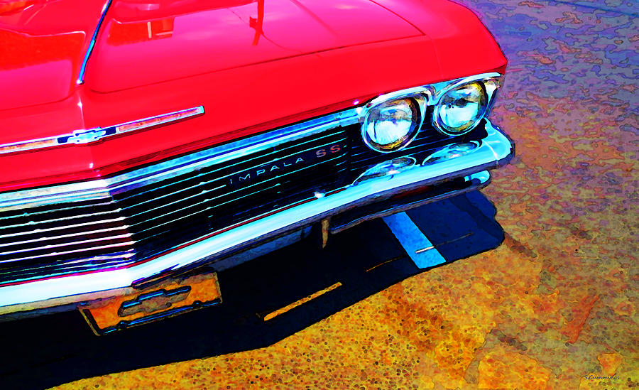 Chevy Painting - Super Sport 3 - Chevy Impala Classic Car by Sharon Cummings