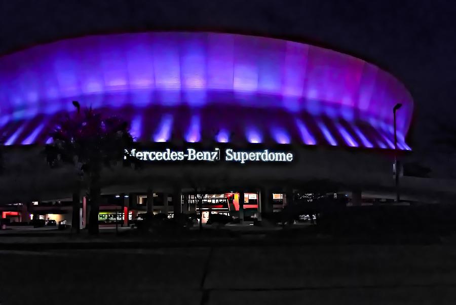 Superdome Photograph - Superdome Night by Steve Harrington