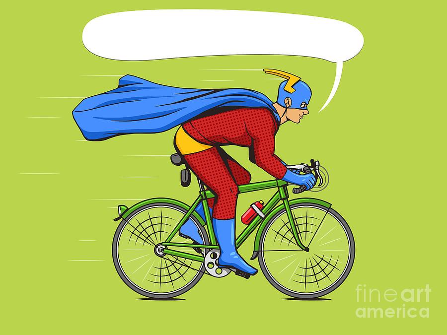 Bicycle Digital Art - Superhero On A Bicycle Cartoon Pop Art by Alexander p