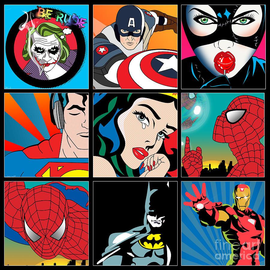 Captain America Painting - Superheroes by Mark Ashkenazi